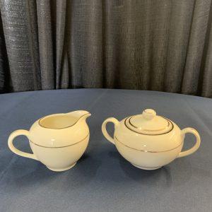 cream double gold sugar pot and creamer