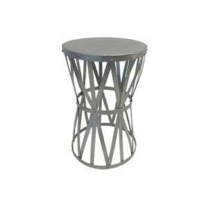 silver hourglass accent table