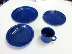 blue enamel metal tableware rental