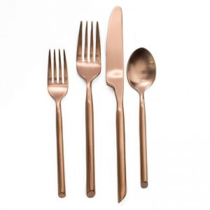copper brushed flatware