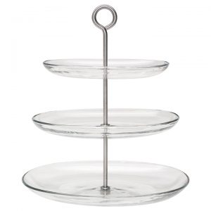 three tier glass tray